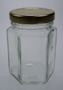 110ml Glass Hexagonal Jar (50 Per Pack)