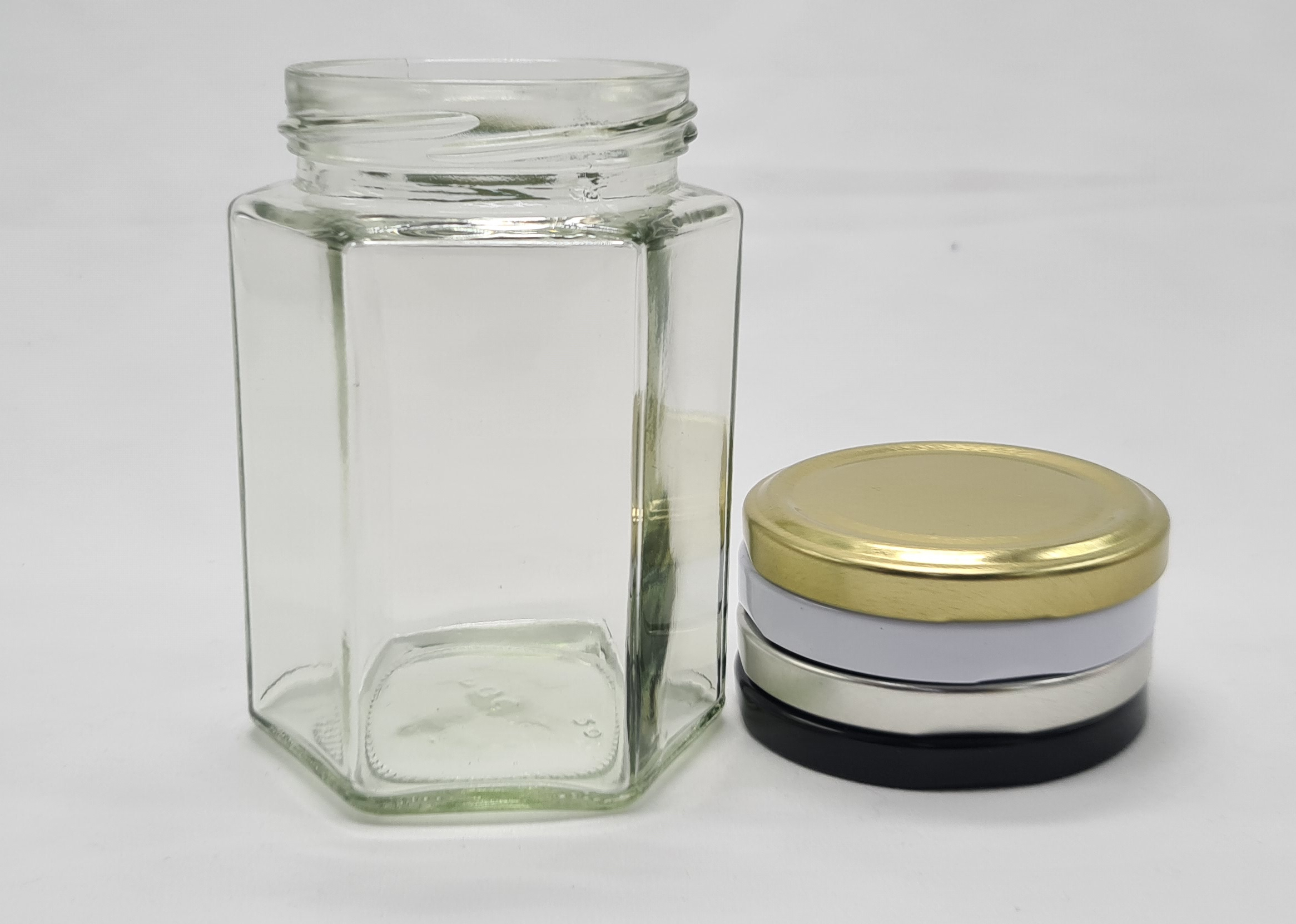 288ml (12oz) Hex Glass Jar (12 Per Pack) - Free Shipping