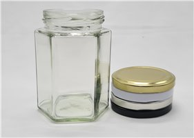 300ml Hex Glass Jar (28 Per Pack)